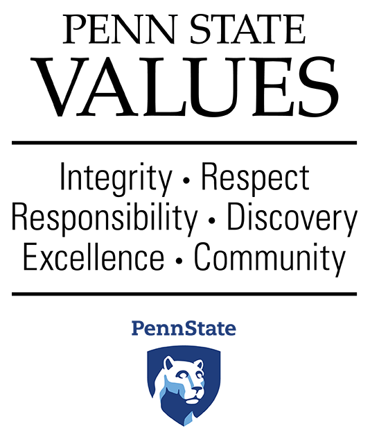 Penn State Values - Integrity, Respect, Responsibility, Discovery, Excellence, Community