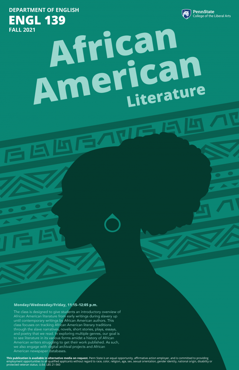 Poster for English 139, African American Literature