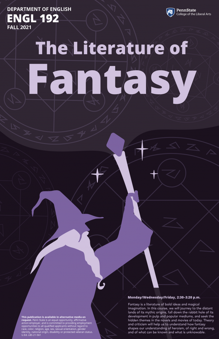 Poster for English 192, The Literature of Fantasy