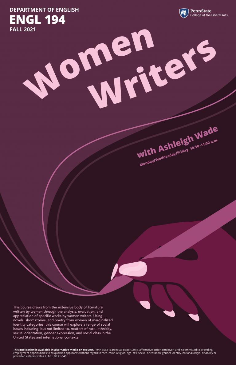 Poster for Ebglish 194, Women Writers